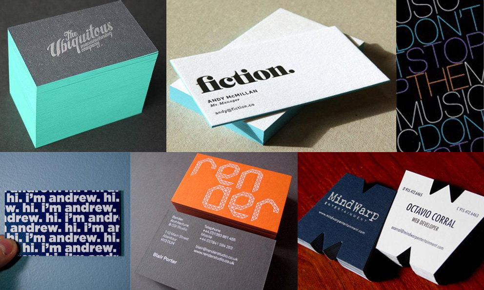 Cartes de visite typographique