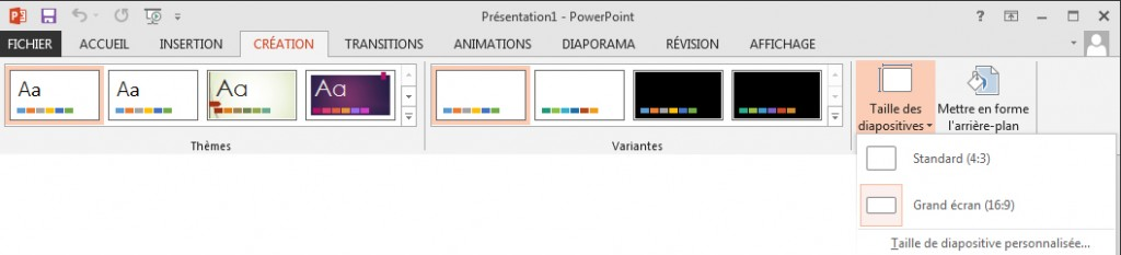 Taille diapositive Powerpoint 2013